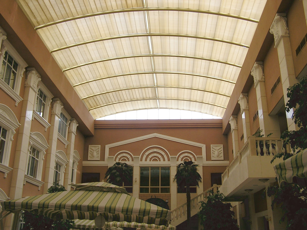 Architectural Tension Shade System Skylight Motor Heat Resistance Fiberglass Fabric